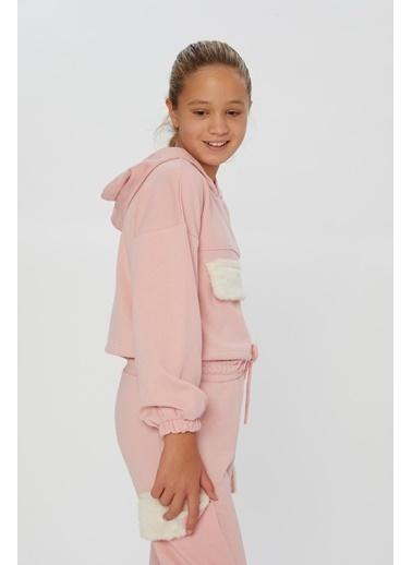 Little Star Little Star Kız Çocuk Peluş Kapaklı Sweatshirt Pudra